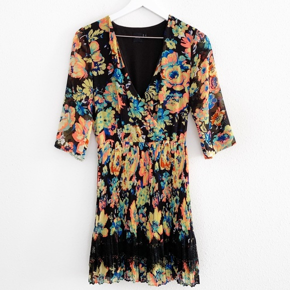 ASOS Dresses & Skirts - ASOS Black Floral Pleated Lace Dress
